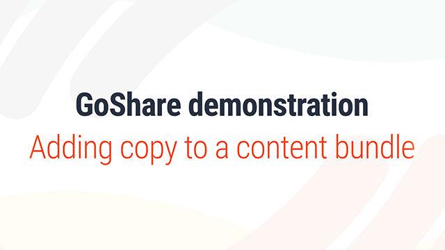 Adding copy to a content bundle